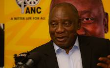 ANC president Cyril Ramaphosa speaks in Sandton on 4 April while on the campaign trail. Picture: Xanderleigh Dookey/EWN