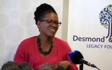 Reverend Canon Mpho Tutu updates the press of Archbishop Desmond Tutu's current health status. Picture: Anthony Molyneaux/EWN