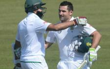 The Proteas' Hashim Amla (L) and Dean Elgar (R) pictured during a test match against Bangladesh on Friday 29 September 2017. Picture: @OfficialCSA/Twitter