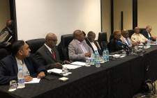 Health Minister Zweli Mkhize, Home Affairs Minister Aaron Motsoaledi, ANC International Relations Chair Minister Lindiwe Zulu, Department of International Relations and SANDF lead the coronavirus briefing.