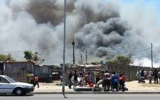 FILE: Shacks caught fire in Valhalla Park. Picture: Supplied.