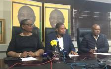 ANC KZN chairperson Zandile Gumede, regional secretary Bheki Ntuli and deputy secretary Mondli Mthembu briefing the media on the Regional Executive Committee (REC) decisions to restore the decorum of the alliance. Picture: Ziyanda Ngcobo/EWN.