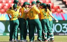 The Proteas Women celebrate the fall of a wicket. Picture: @OfficialCSA/Twitter