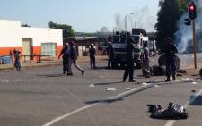 Protest in Modimole where the R101 road was barricaded by protesters on 19 February, 2016. Picture: Twitter @SAPoliceService.