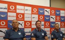 Blue Bulls Super Rugby coach Pote Human (left) and director of rugby Alan Zondagh (far right) . Picture: Twitter/@BlueBullsRugby
