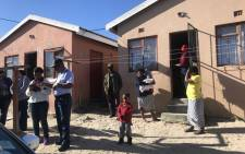 Western Cape Police Commissioner Khombinkosi Jula visited the families of the two officers who were murdered on Friday night. Picture: Kaylynn Palm/EWN.