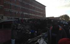 The aftermath of a fire that broke out directly behind the Helen Joseph Hostel in Alexandra township. Picture: Jacob Moshokoa/Eyewitness News