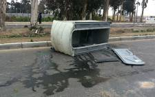Du Noon residents overturned a portable toilet during a service delivery protest on 26 July 2013. Picture: Lauren Isaacs/EWN