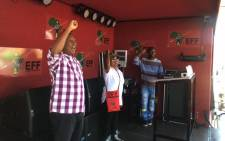 EFF leader Julius Malema before addressing Ebony Park residents. Economic Freedom Fighters Facebook Page.