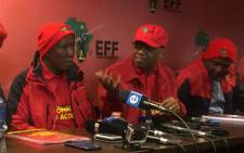 EFF leader Julius Malema briefs the media. Picture: Clement Manyathela/EWN