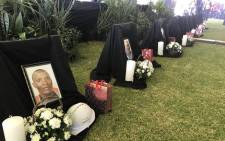 The memorial service for the 7 miners who lost their lives at the Sibanye Stillwater's Driefontein operation last week. Picture: Christa Eybers/EWN