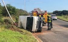 The overturned taxi on Philip Kgosana Drive in Cape Town on 6 September 2018. Picture: Bertram Malgas/EWN