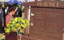 Chris Hani's widow Limpo lays a wreath at her deceased husband's grave. Picture: Vumani Mkhize/EWN.