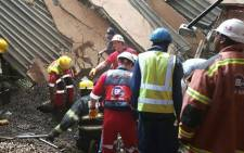 Paramedics on the scene of a structural collapse at the Charlotte Maxeke Academic Hospital in Johannesburg on 2 March 2017. Picture: @ER24EMS.