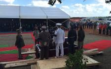 Various members of the South African National Defence force stand by as the coffin of late Public Service and Administration Minister, Collins Chabane, was lowered into the ground at a cemetery in the Xikundu village. Picture: Reinart Toerien/EWN.