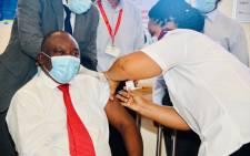 President Cyril Ramaphosa gets a shot of the Johnson & Johnson COVID vaccine in Khayelitsha on Wednesday, 17 February 2021. Picture: @CyrilRamaphosa Twitter