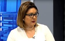 A screengrab of Eskom's Head of Legal and Compliance Suzanne Daniels.