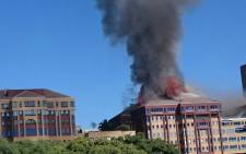 A Braampark building on fire on 18 April 2017, Braamfontein. Picture: Arrive Alive.