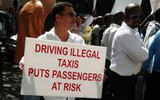 Metered taxi drivers marching through the Cape Town CBD in protest against illegal operators. Picture: Lauren Isaacs/EWN