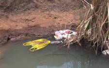 A polluted river in the Marry Me informal settlement in Soshanguve north of Pretoria. Picture: Reinart Toerien/EWN.