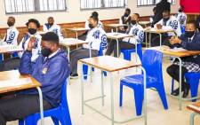 Matriculants at the Noordwyk Secondary School on the first day of the 2021 National Senior Certificate final examinations. Picture: @David_Makhura/Twitter.