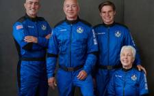 From left, Mark Bezos, Jeff Bezos, Oliver Daemen and Wally Funk flew into space on Blue Origin's New Shepard flight on 20 July 2021. Picture: @blueorigin/Twitter