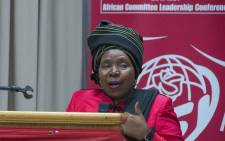 Presidential hopeful Nkosazana Dlamini Zuma is seen addressing the African Committee Leadership Conference of the International Union of Socialist Youth at the St Georges Hotel in Irene. Picture: Ihsaan Haffejee/EWN