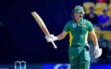 South Africa's captain AB de Villiers celebrates 50 runs during the third one day International cricket match between New Zealand and South Africa at Westpac Stadium in Wellington on 25 February, 2017. Picture: AFP.