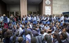 About two hundred students from Masiphumelele High to the Western Cape Education Dept to demand better schooling.Picture: Thomas Holder/EWN