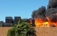 Fire at Bellville Depot of South African Breweries. Picture:Twitter @djPubRocK.