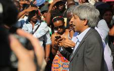 Wits vice chancellor Adam Habib addresses a group of students on campus who were protesting over the outsourcing of employees on campus on 28 October 2015. Picture: Reinart Toerien/EWN