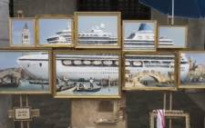 "A screengrab of a montage of oil paintings entitled ""Venice in Oil"" portraying a massive cruise ship surrounded by tiny Venetian gondola boats. Picture: @banksy/Instagram."