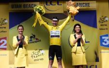 An emotional Mark Cavendish completed cycling's prestigious set of distinctive jerseys when he won the crash-marred first stage of the Tour de France on Saturday to take the overall leader's yellow jersey. Picture: Le Tour de France @LeTour.