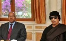 President Jacob Zuma with Muammar Gaddafi in Tripoli,Lybia. Picture: GCIS