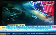 A screengrab of the Batman shooting from CNN.