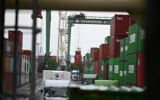 Containers are seen at the international cargo terminal at the port in Tokyo on 16 August 2021. Picture: Kazuhiro Nogi/AFP