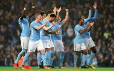 Manchester City players celebrate a win in the League Cup on 25 October 2017. Picture: @ManCity/Twitter