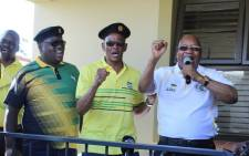 Former President Jacob Zuma joined ANC secretary-general Ace Magashule (C) and former President Jacob Zuma (R) on a campaign trail in KwaZulu-Natal. Picture: @MYANC/Twitter.