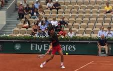 Former champion Novak Djokovic in action at French Open. Picture: @rolandgarros/Twitter.