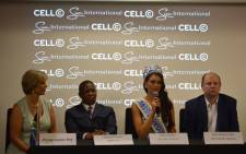 Miss World Rolene Strauss next to Sports Minister Fikile Mbalula and the Miss World organiser. Picture: Emily Corke/EWN.