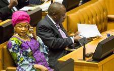 FILE: Speaker Baleka Mbete sits next to Deputy President Cyril Ramaphosa after his question and answer session in Parliament on 19 November 2014. Picture: Aletta Gardner/EWN.