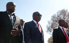 Economic Freedom Fighters members Julius Malema and Floyd Shivambu make their way to address a crowd of supporters outside the Polokwane Magistrate's court after a postponement in the corruption case against Malema. Picture: Reinart Toerien/EWN.