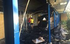Students allegedly set buildings alight at the Vaal University of Technology's Vanderbijlpark campus on 11 May 2016. Picture: Kgothatso Mokgale/EWN.