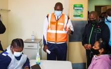 Gauteng Premier David Makhura (M) at the Lenasia south vaccine centre on Tuesday, 17 Augus 2021. Picture: David Makhura/Twitter