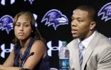 Janay Rice, sits next to her husband Ray at a press conference on 9 September, 2014. Picture: Facebook.