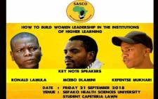 The poster on 'How to build a women leadership in institutions of higher learning with students' with only male activists leading the discussions, which Sasco has labelled as sabotage. Picture: @ticstrics/Twitter.