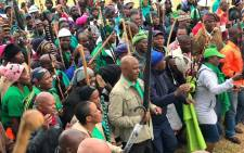 Amcu leader Joseph Mathunjwa leads striking members in protest near a Sibanye-Stillwater gold mine. Picture: @_AMCU/Twitter