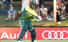 Proteas wicketkeeper/batsman Quinton de Kock gets into position for a big shot. Picture: AFP