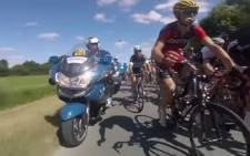 GoPro view of the Tour de France peloton. Picture: Screengrab