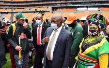 Deputy President David Mabuza at FNB Stadium for the launch of the national vaccination campaign 'Return to Play – it's in your hands'. Picture: Gauteng Government/Twitter